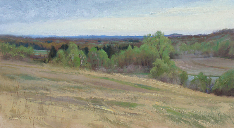 Spring Fields , 17 x 31 oil on panel