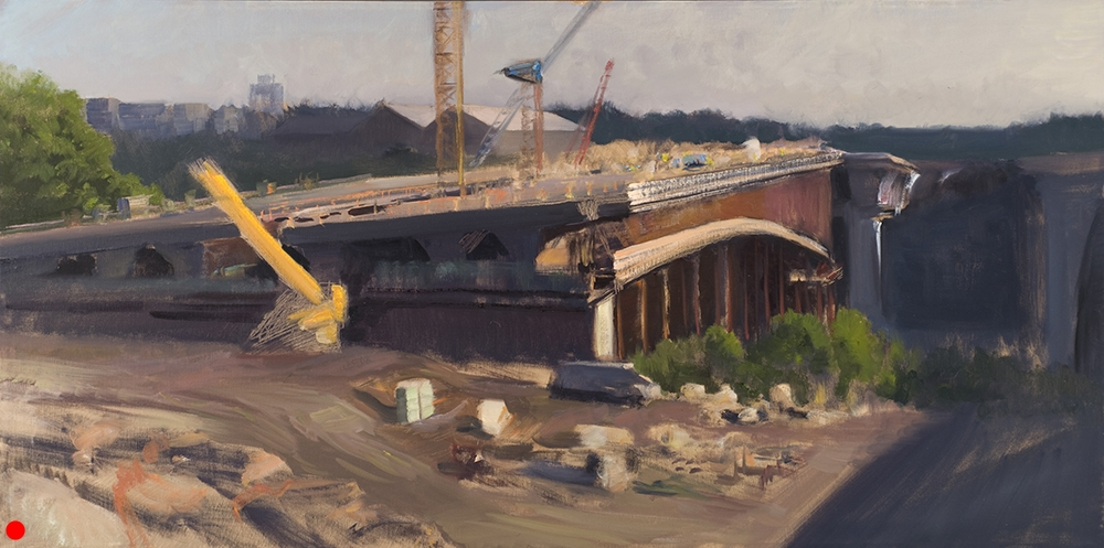 Sunrise on the Bridge's East Side (unfinished)  18 x 36 oil on canvas. In private collection