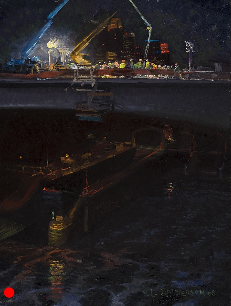 Nocturne: Last Fill  10 x 8 oil on panel, in private collection   This was the last segment to be inserted, completing the span. The crew had a bit of a ceremony and it was all very moving. From the clearing of the wreckage after the collapse, to this, the whole project was done in about a year. Amazing what can be done if everyone works together.