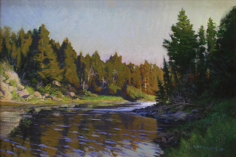 Boundary Waters Sundown  24 x 36 oil on linen