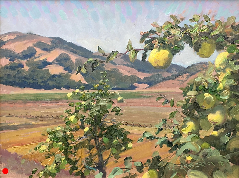 Sonoma Quince  12 x 16 oil on panel Painted on location west of Petaluma, California during the 2018 Sonoma Plein Air event.
