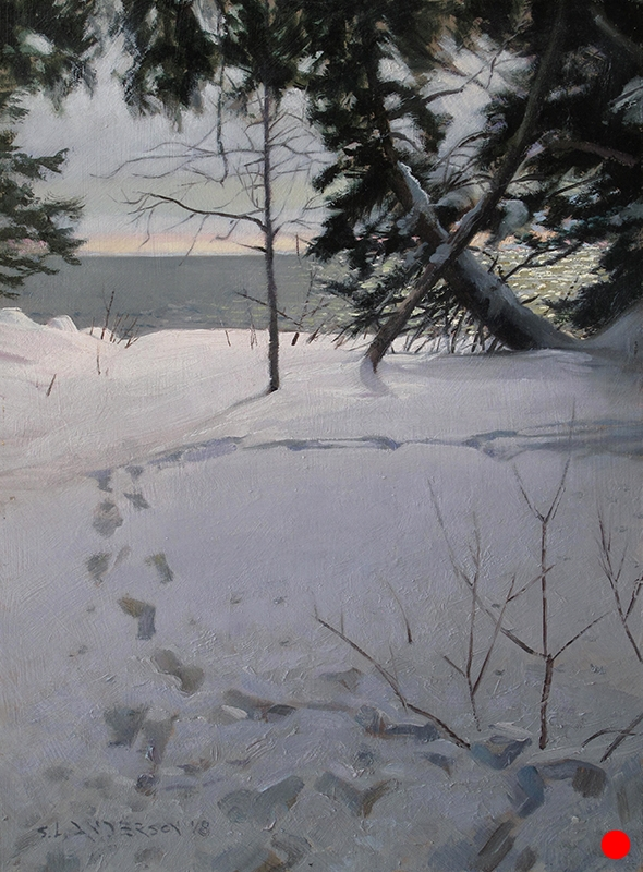 Steps in the Snow , 16 x 12 oil on panel