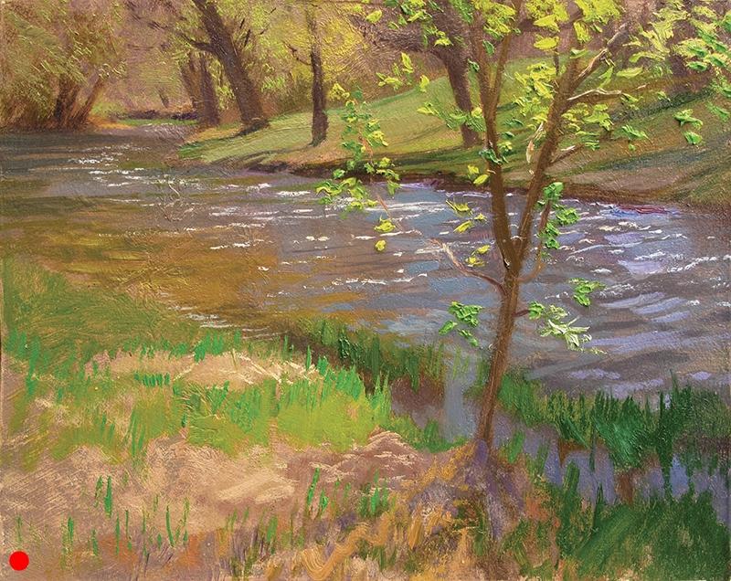 Minnehaha Creek Spring , 8 x 10 oil panel
