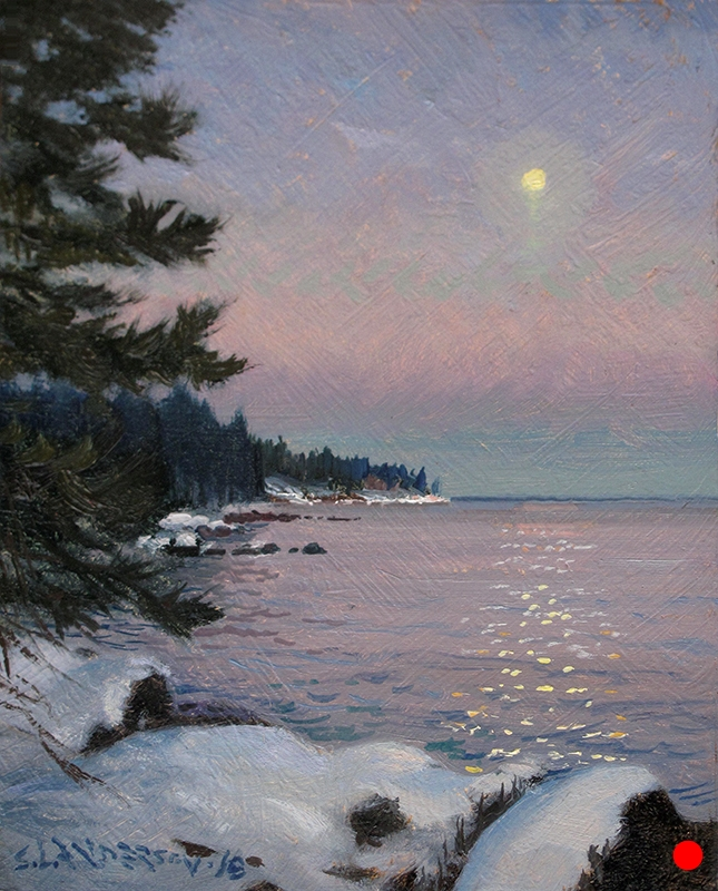 Moonrise Over the Lake , 8 x 6 oil on panel
