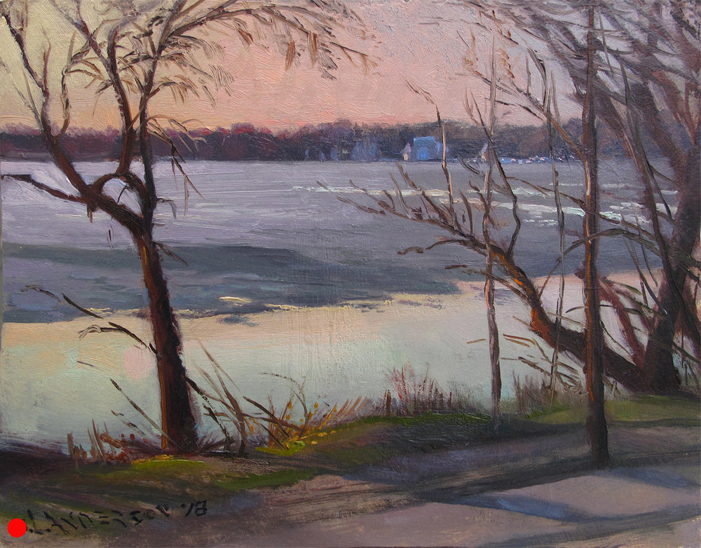 Ice Melting at Lake Harriet  8 x 10, oil on panel (SOLD)