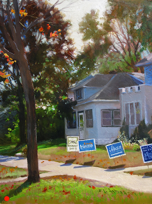 Campaign Season 2  16 x 12 oil on panel The elections was exhausting for sure. But I was drawn to the blue signs against all the orange-ish tones. (SOLD)