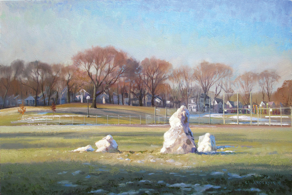 Snowpeople 40, Melting in the Park  24 x 36 oil on canvas