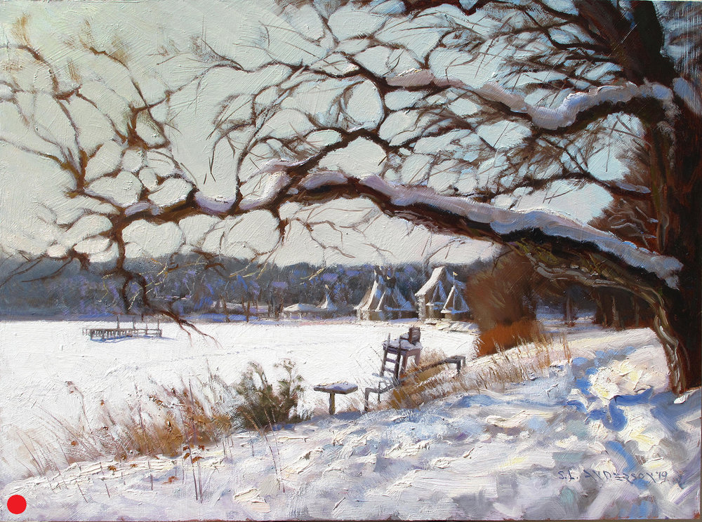 Lake Harriet View From North Beach  18 x 24 oil on panel  Studio painting from a small 8 x 10 panel created on location. I had to sit in the snow to get the bandshell to fit in that window below that big branch. I got a kold keester after while. Many large branches cantilever from the trees oddly out across the walking path.