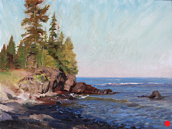 The Superior Shore at Caribou Creek  ,  12 x 16 oil on panel