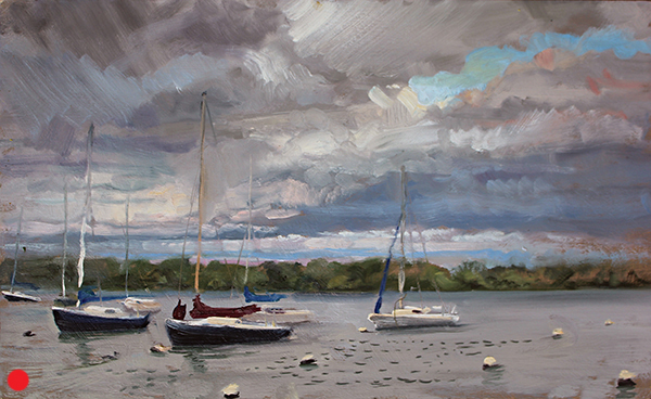 Sailboats, Lake Nokomis  ,  12 x 20 oil on panel