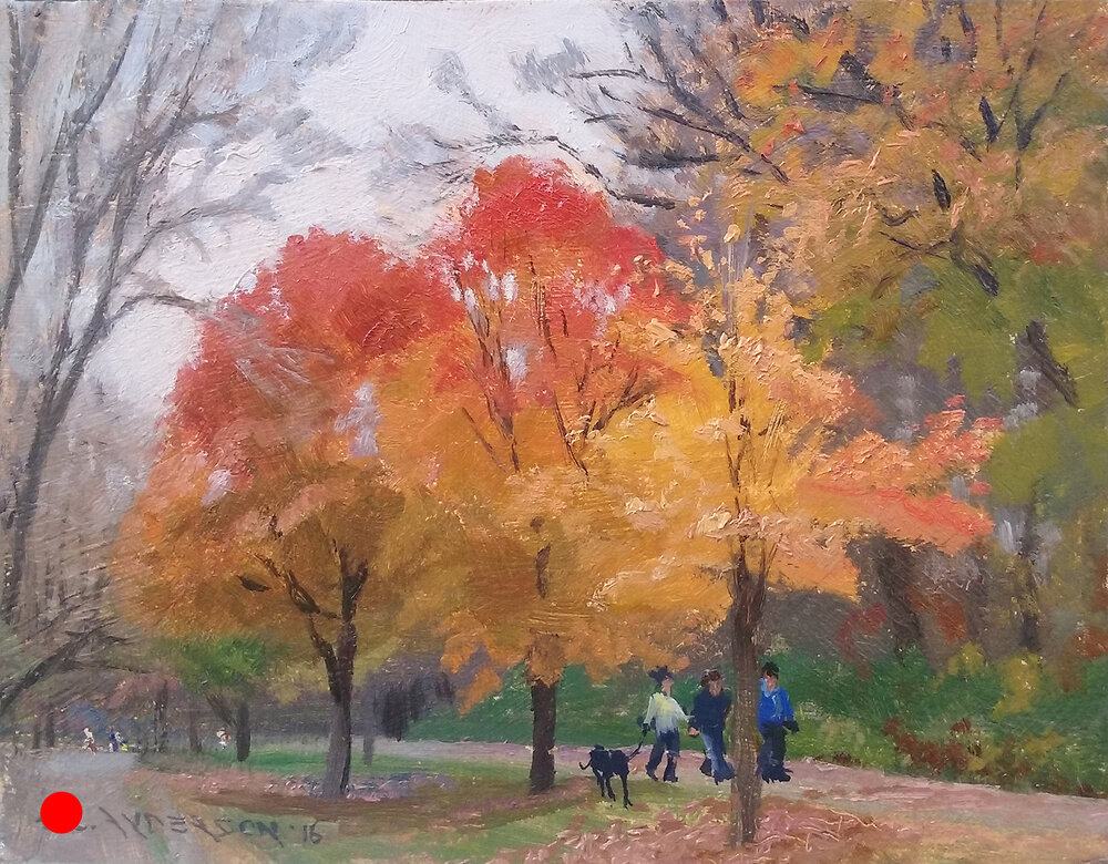 Fall Maples at Lake Harriet , 12 x 16 oil on panel