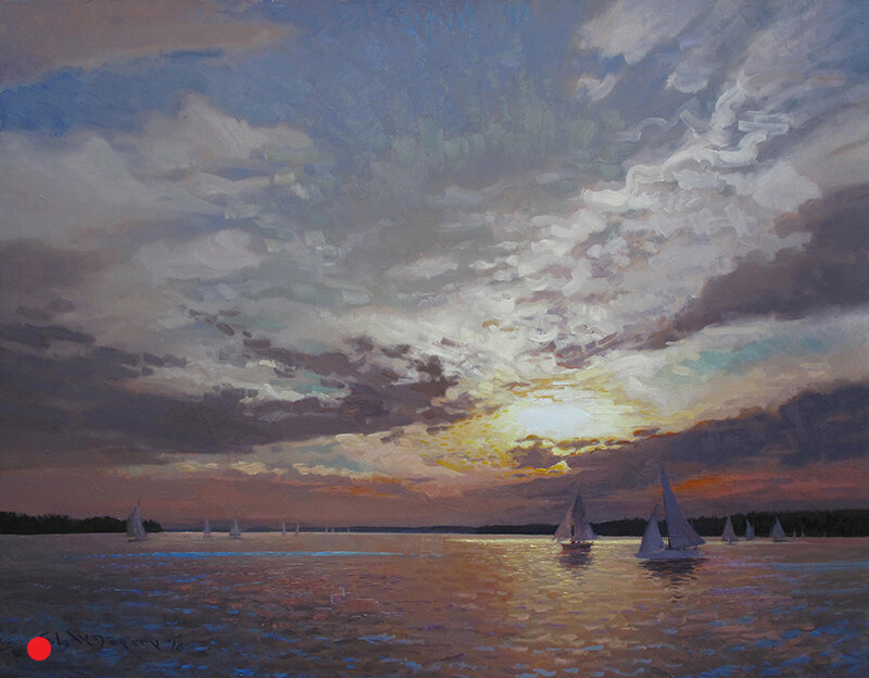 Sailboats at Sunset , 48 x 60 oil on linen