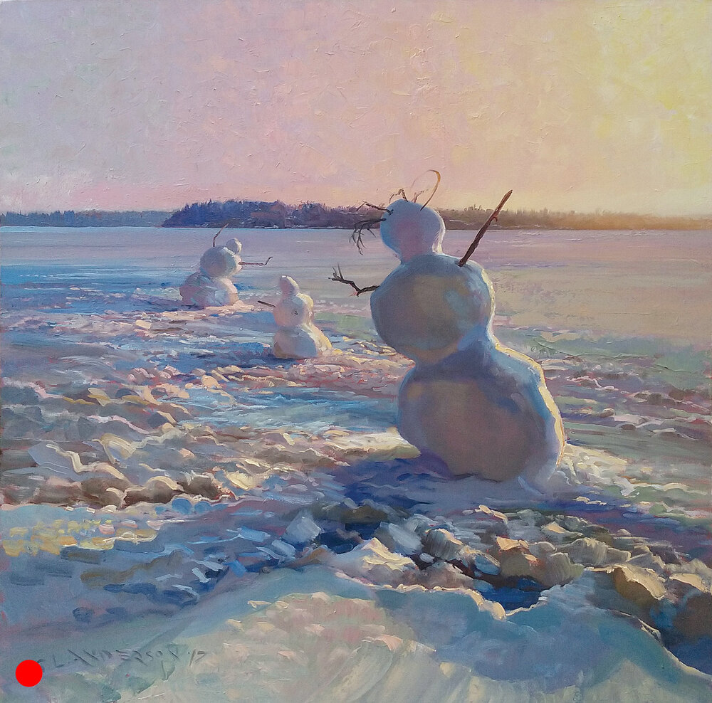 Three Snowpeople, Sunset at the Lake  40 x 40, oil on gallery wrapped canvas