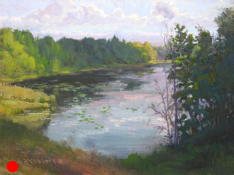 Cloud Shadow Over the Pond  oil on canvaspanel, 18 x 24 Painted on location near Danbury, Wisconsin. This is a favorite spot of mine to paint. It has different kinds of character whatever the season and amount of water.