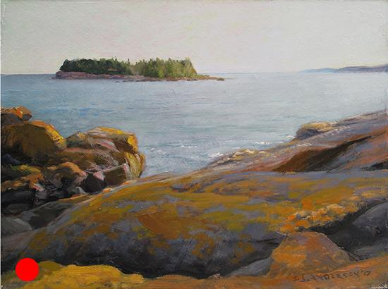 Early Evening from Lafayette Point , 12 x 16 oil on panel Painted on the shore of Lake Superior, July, 2017.