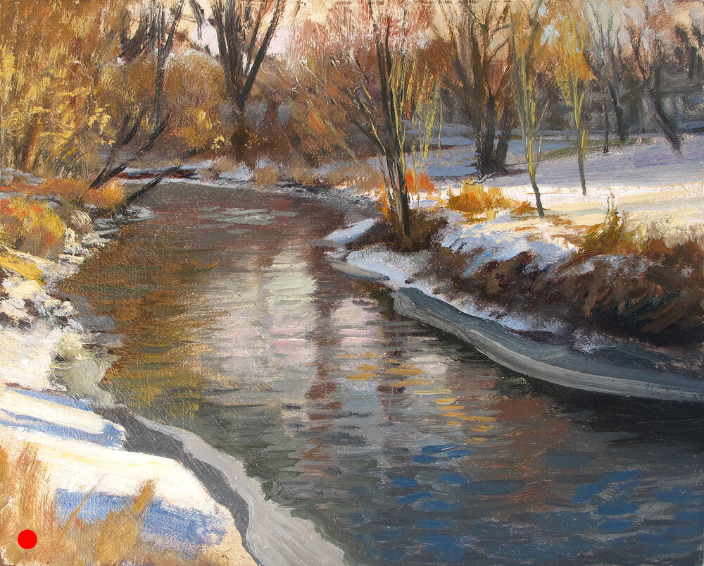 Winter Creek , 8 x 10, oil on panel Painted on location on Minnehaha Creek in January.