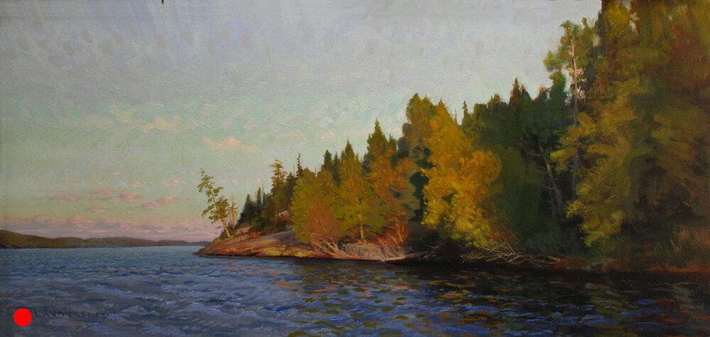 Loon Lake Morning  22 x 45 oil on panel