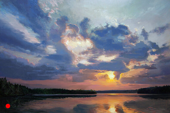 Clouds and Setting Sun Over the Lake  40 x 60 oil on canvas