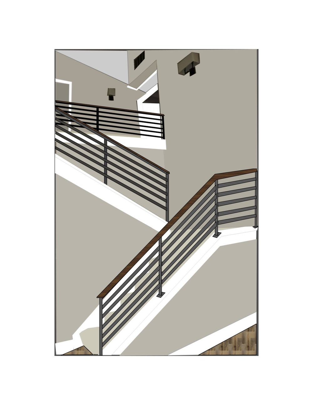Planned stairway 3D rendering