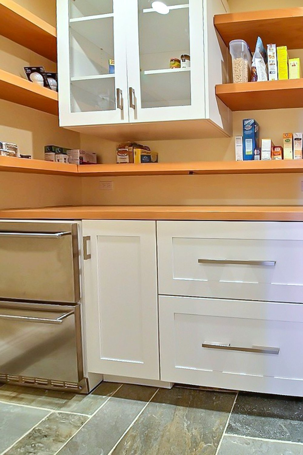 Stainless refrigerator drawers and freezer drawers with drawer panels