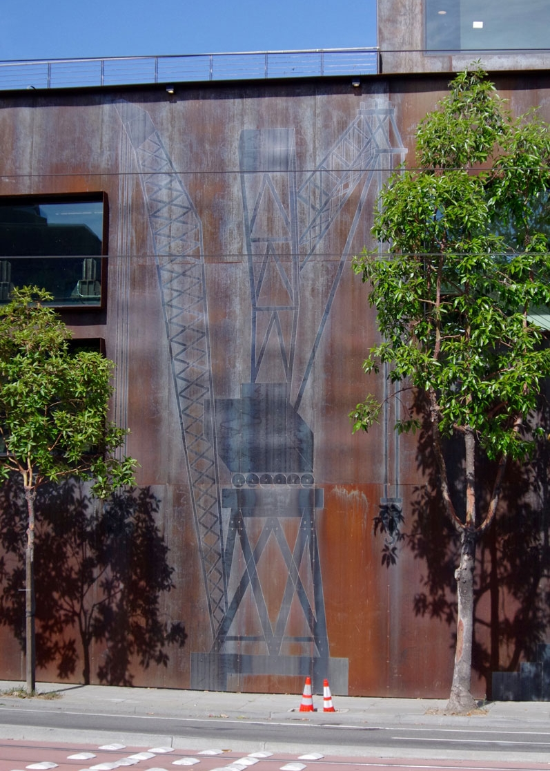 Cranes - (building exterior)Cor-ten steel etching of Nick and Nora, iconic cranes in Dogpatch