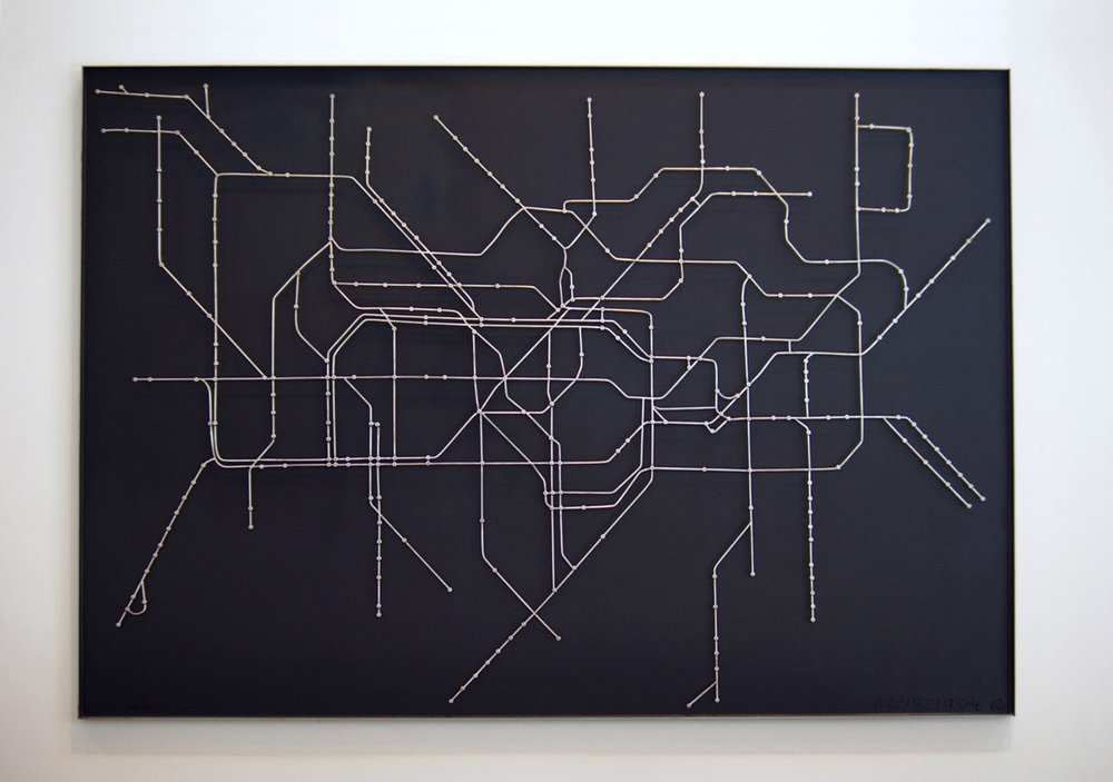 London Subway - Steel rod and wood map of The London Underground, aka The Tube, London's public rapid transit system.