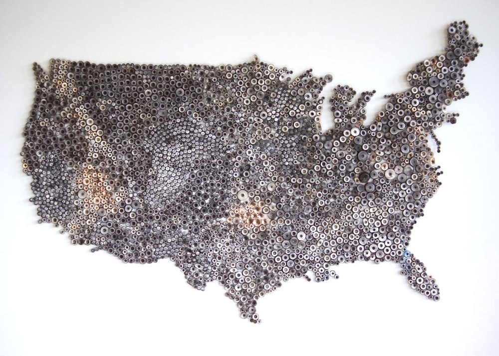 USA of Trump - Map of the United States made from reclaimed metal and bronze.