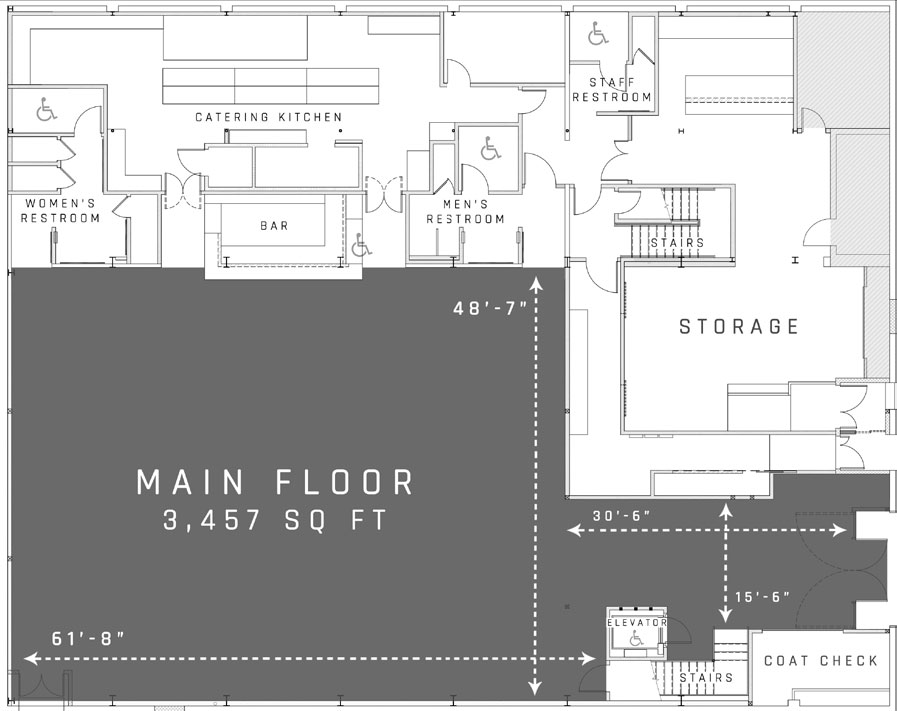 floor plan of the main floor venue