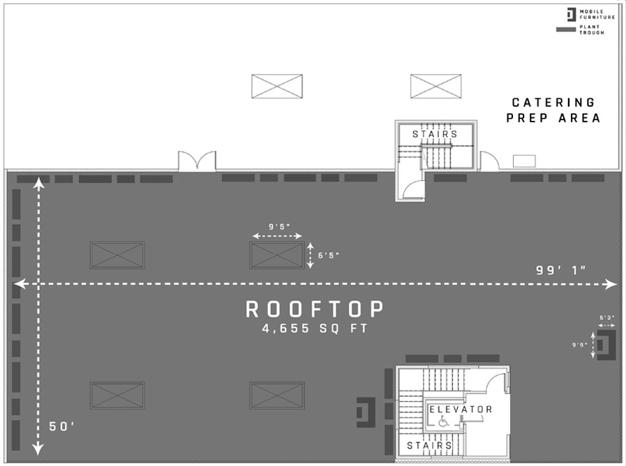 Floor plan of the best rooftop in San Francisco