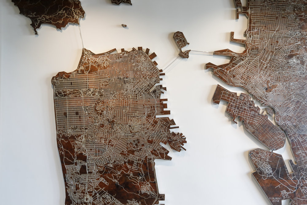 Burl redwood and stainless steel street map of the Bay Area
