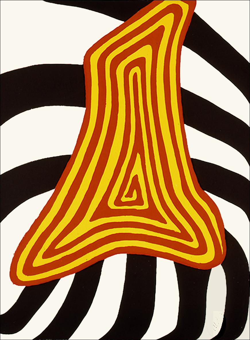 Zebra jaune et zebra noir,  Original Lithograph, 1976, 31  23 in, Signed and Numbered 58/75