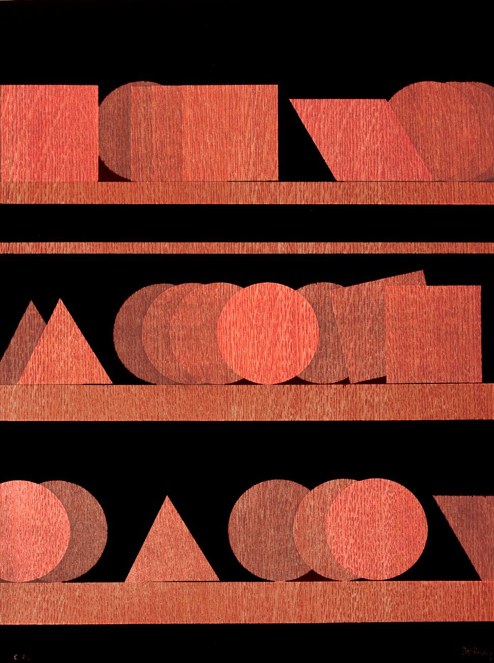 Quatorze cercles, 6 carré, 2 losanges, 3 disques soulignés,  Original Etching, 1977, 26 x 20 in., Signed and Numbered 62/75