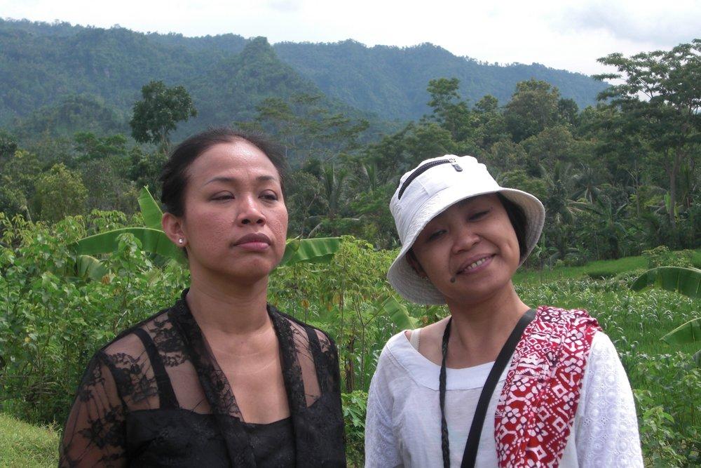 Sri Susilowati and Heni Winahyuningsih on location in Yogyakarta, Indonesia