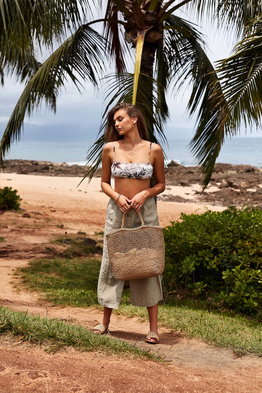 Bermuda Bandeau Top Sand & Newport Skirt Sage with Bangalow Beach Bag.jpg
