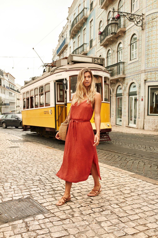 Lisbon Dress Rust & Tiki Beach Bag Straw 5.jpg
