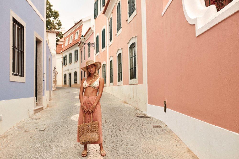Barbados Halter Top Lemon & Portugal Skirt Blush & Bungalow Beach Bag & Tiki Hat Straw 1.jpg