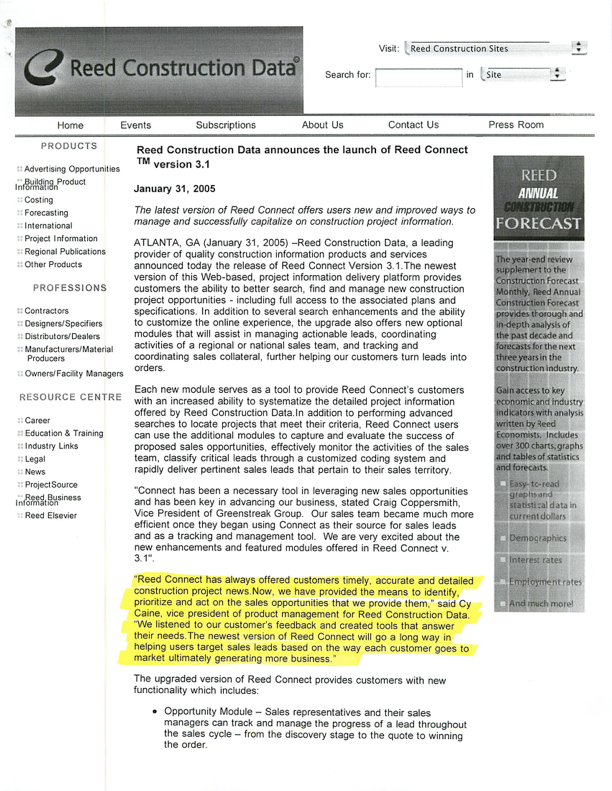 Press Release - Jan '05 - Reed Connect 3 dot 1 - page 1.png