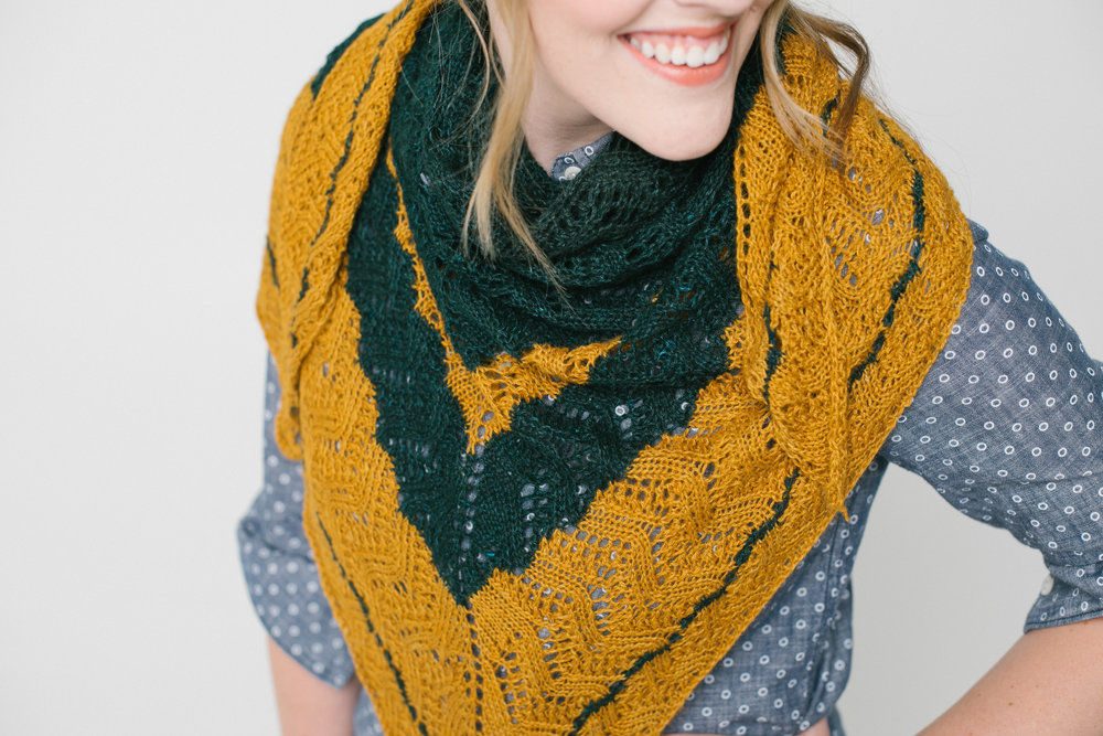 Salt River MIll's Mason Twist Shawl is designed in Decadence by Christina Loman.