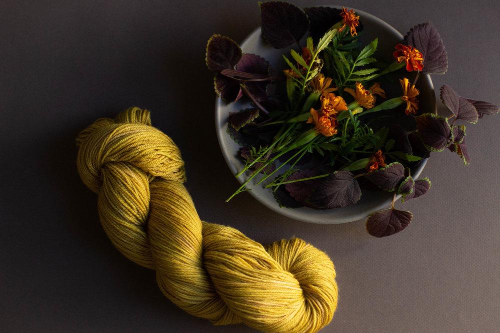 Marigold and coleus dyed sock yarn