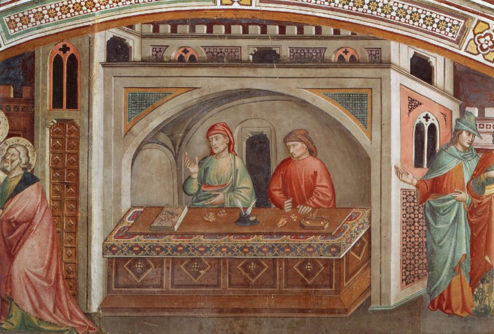 Florentine merchants trusted bankers to record their transactions. A detail from Life of St Matthew, 1400, fresco, by Niccolo di Pietro Gerini (1415–1416)