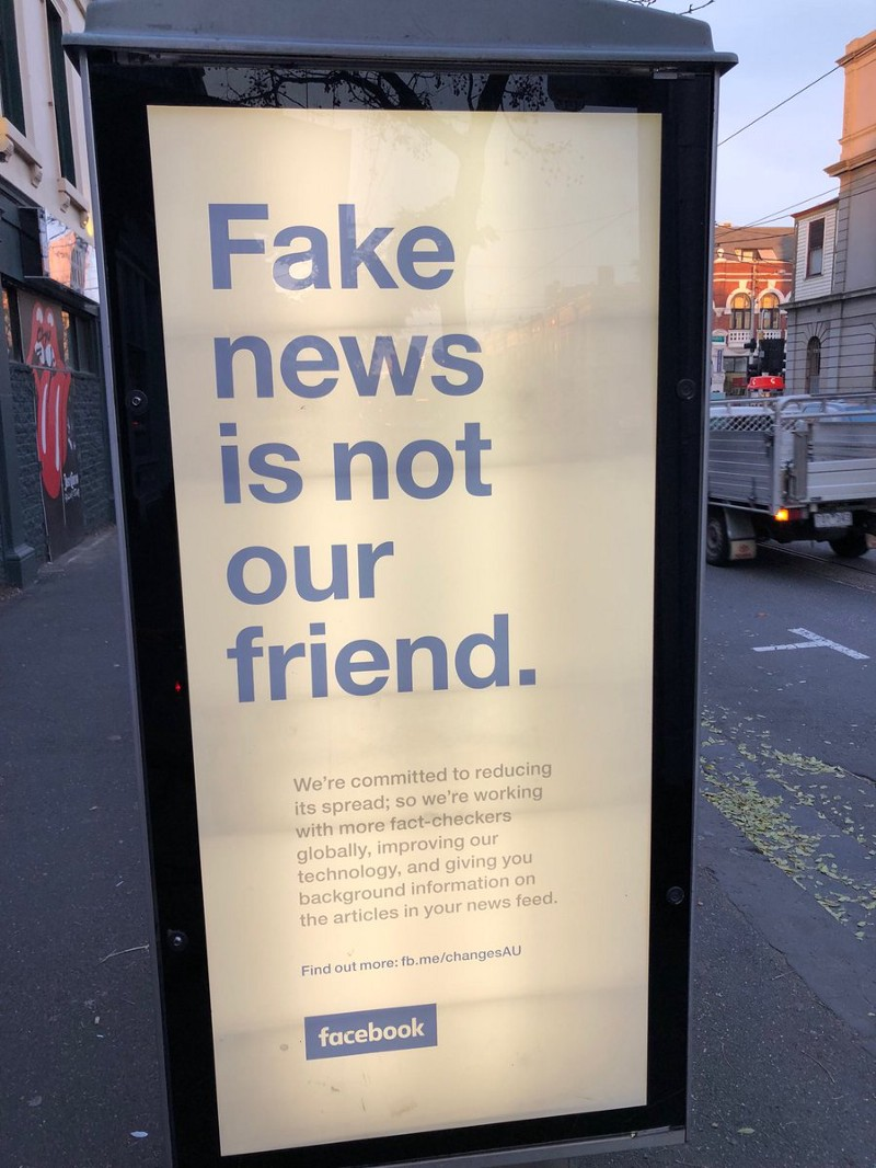 Seen last week on Gertrude Street, Melbourne. Facebook is trying to counter the brand damage following the Cambridge Analytica fiasco, reports of fake news, and people waking up to economic and social costs of social media.