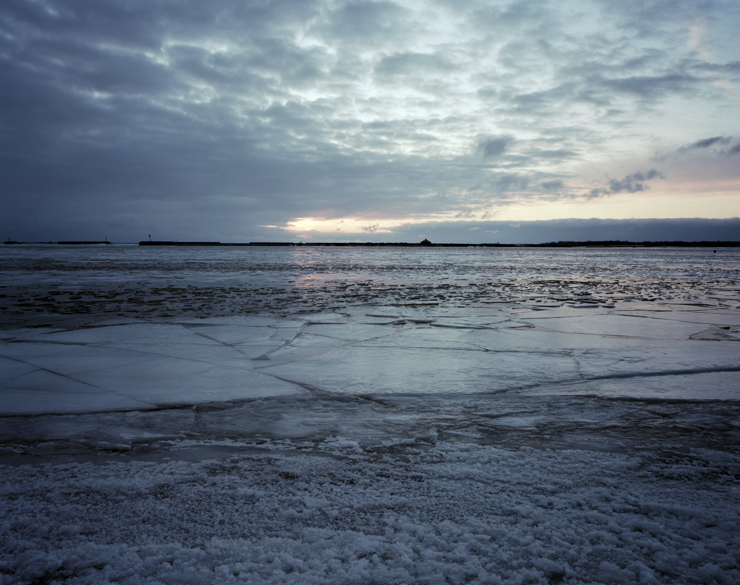 4x5 Portra 160 exposure of the frozen lake,
