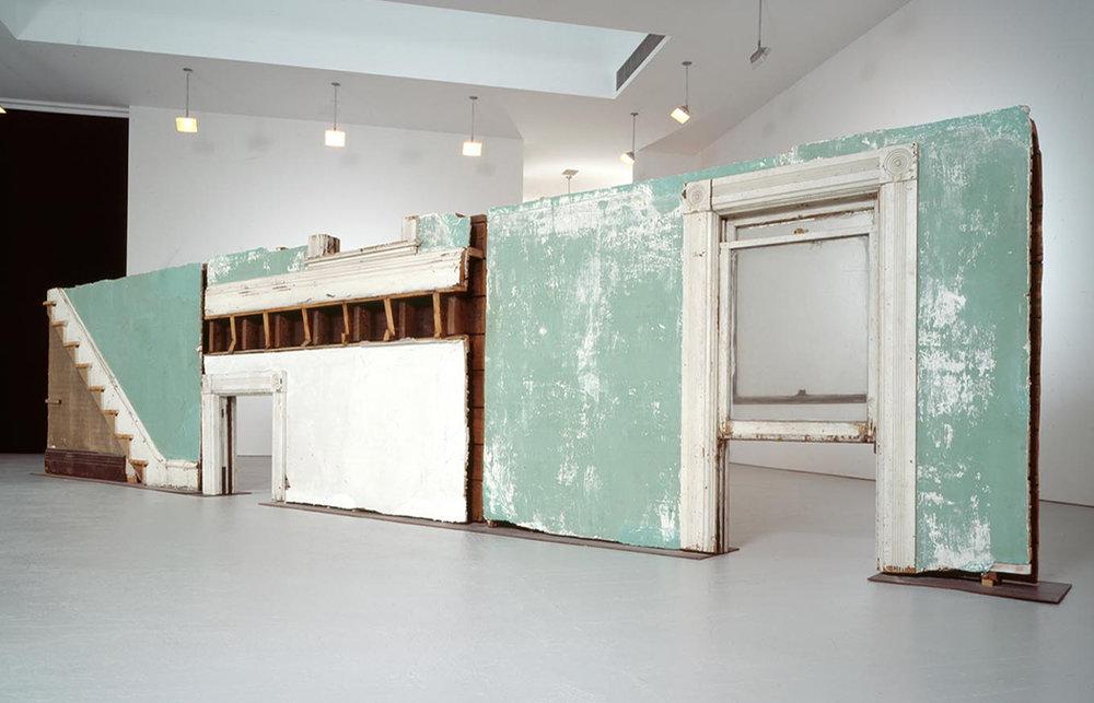 "Gordon Matta-Clark, ""Bingo"" (1974)  ""unbuilding"" of a house; recontextualization of an interior"