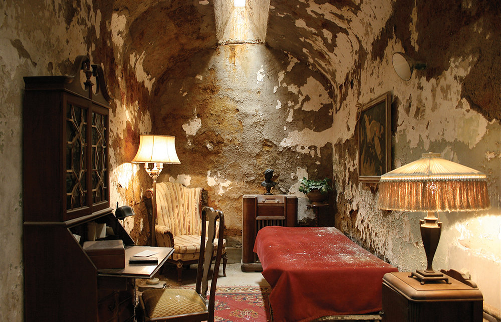 Al Capone's cell at the Eastern State Penitentiary, Philadelphia PA  reconstruction of a static past inside an entropic architecture