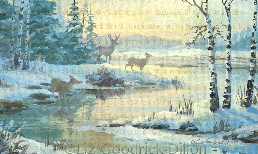 Winter Stream & Deer.jpg