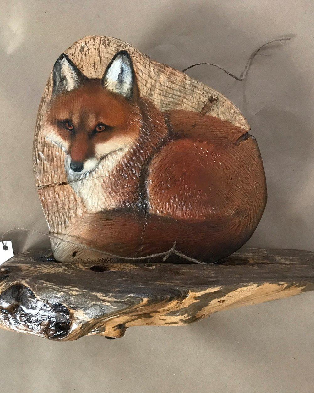 Red Fox on wood - by ©Liz Goodrick-Dillon