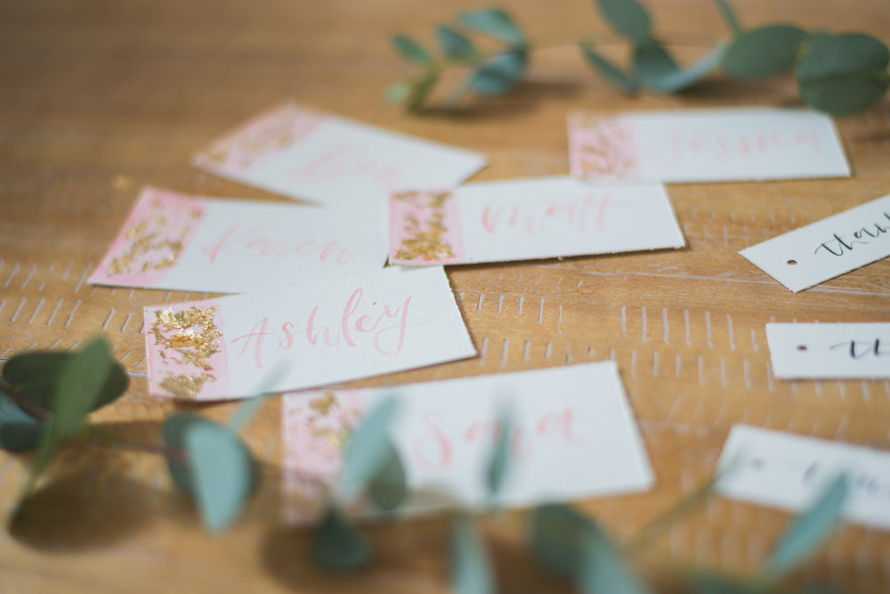 Watercolor Placecards with Gold Leaf