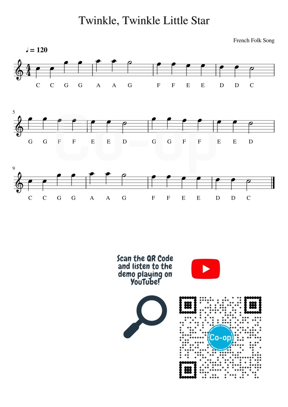 Twinkle Twinkle Little Star   Letter Notation   Free Sheet Music