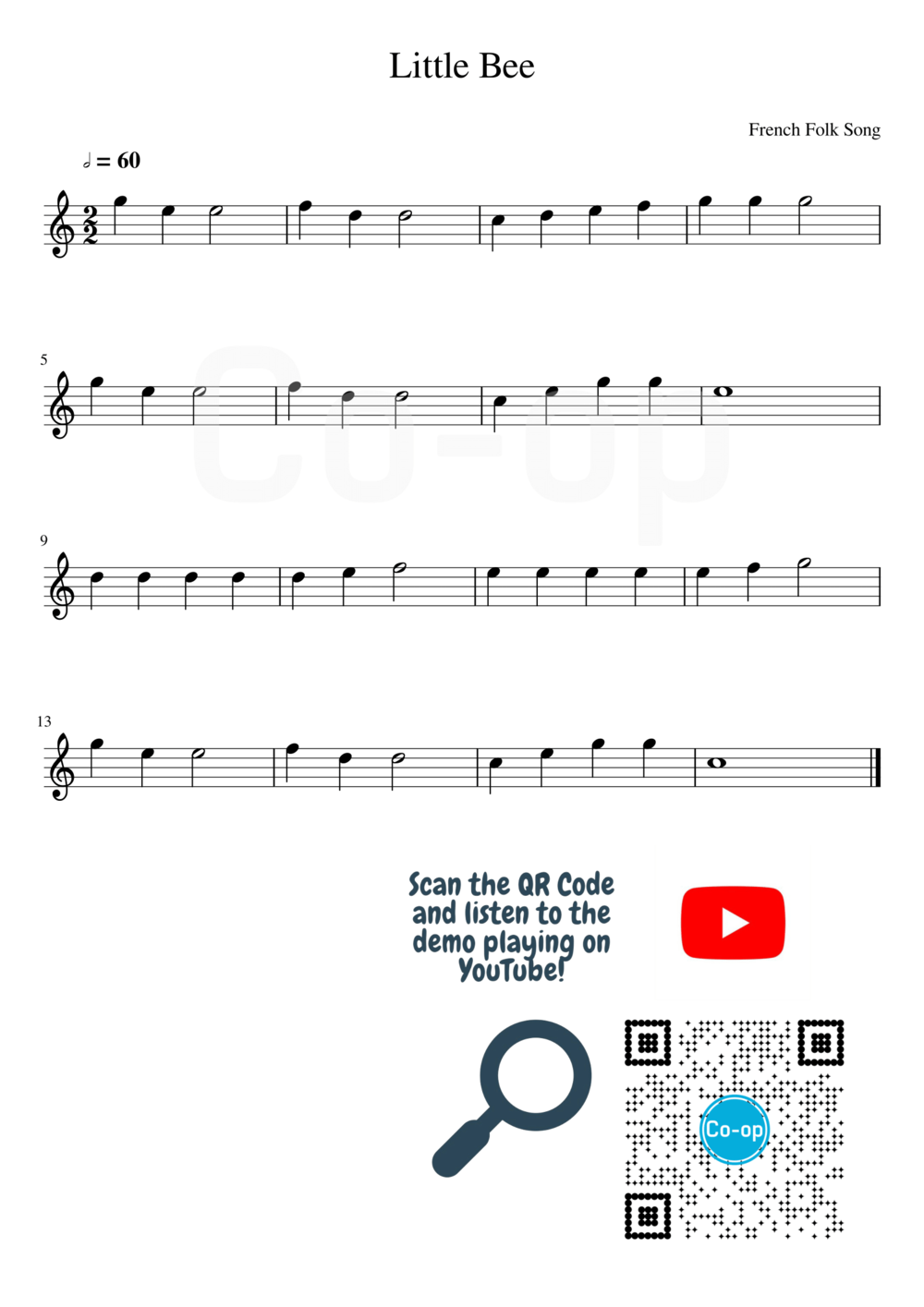 Little Bee | Staff Notation | Free Sheet Music