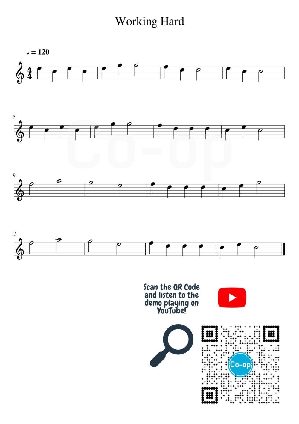 Working Hard | Staff Notation | Free Sheet Music